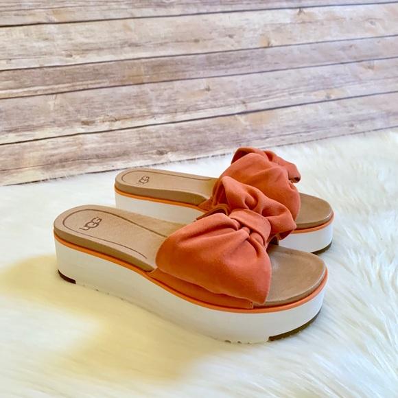 629c7421613 UGG Joan Platform Bow Suede Sandal - Vibrant Coral NWT